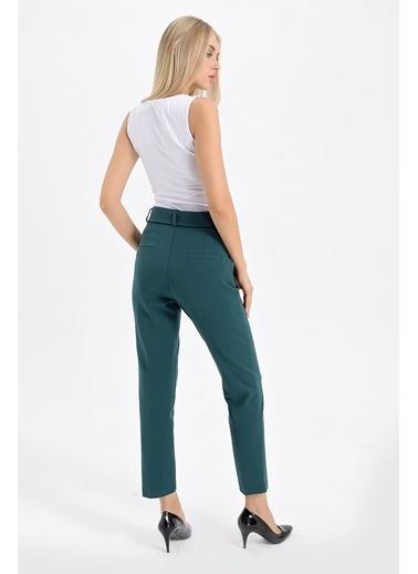 Jument Enjoy Yüksek Bel D Tokalı Kemerli Boyfriend Pantolon Yeşil
